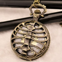 Spine Pocket Watch Necklace Vintage Jewelry sweater chain Steampunk Watch hb26 Antique Pocket Watch Necklace Bronze Chain Pendant