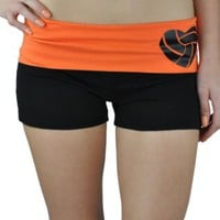 Juniors Two Tone Fold Over Volleyball Spandex Shorts Pink or Turquoise: Clothing