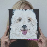 Coton de Tulear pet portraits, Custom Pet Painting, Dog art, Custom Dog Portraits, Black