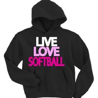 Live Love Softball Hoodie Sweatshirt: Clothing