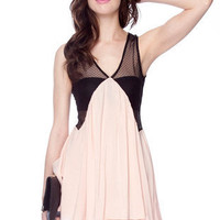 Babydoll Mesh Dress in Peach :: tobi