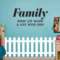 Wall Mural Decal Sticker - Family Where Life Begins - Quote EMS 101