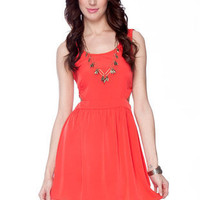 Side to Side Tank Dress in Red Orange :: tobi