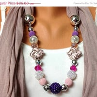 ON SALE pink jewelry scarf - dusty pink scarf with adorable beads, unique and high faahion, gift or for you NEW Season