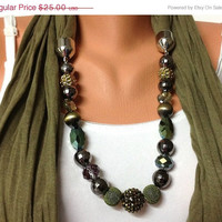 ON SALE green jewelry scarf - green wrinkle scarf with crystal and acyrlic beads, high fashion unique jewelry scarf, gift or for you