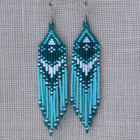 Native American Earrings Inspired. White, Turquoise Green and Teal Earrings. Dangle Long Earrings. Beadwork