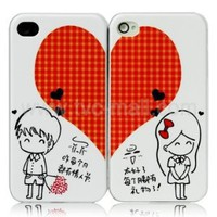 Amazon.com: 2 PCS Sweet Heart Iphone 4 /4s Hard Plastic Case for Lovers Couple: Cell Phones & Accessories