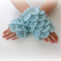 Fingerless Gloves  Turquoise Light Blue  Trendy by Iovelycrochet