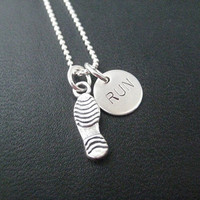 RUN Running Shoe - 16 inch Sterling Silver Running Necklace on Sterling Silver Ball chain - Choose Shoe Print or Running Shoe