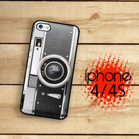 iPhone 4S Case Black Silver Retro Camera  / Hard Case For iPhone 4 and iPhone 4S Vintage Camera Style Plastic or Rubber Trim