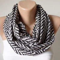 Chevron Scarf. Loop Scarf .Cowl Scarf. Circle Scarf. Black and white. Chiffon Scarf