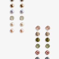 Rhinestone &amp; Pearlescent Stud Set | FOREVER 21 - 1026741667