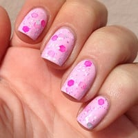 Nail polish - &quot;Sweet As&quot; neon pink, silver and white glitter in a light pink base