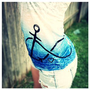 Women Teen Girl Racerback Burnout Ombre Tank Anchor Love Infinity Blue
