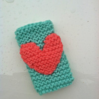 Knitted Cell Phone Cover iPhone Socks with HEART in Mint & Coral  - Fits ALL iPhones, Galaxy, iPods, Kleenex Holder - Stocking Stuffers