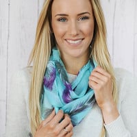 Feather Infinity Scarf Feather Print on Light Aqua Blue Circle Scarf Lightweight Wide Gauze Scarf Women&#x27;s Fashion Accessory