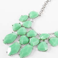 Women's Chunky Stone Statement Necklacein Green/Silver by Daytrip.