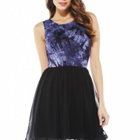 Navy Tie Dye Blue Skater Dress with Low V Back