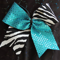 texas size zebra cheer bow by BragAboutItCheerBows on Etsy