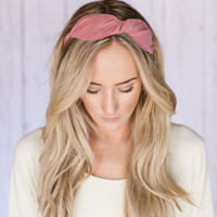 PINK Fabric Bow Hair Band Chunky HeadBand with Bow-Like Twist Headband Traditional Mauve Head Band Fabric Wrapped Bow Headband