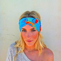 Knotted Turban Headband Two Color Teal & Retro by ThreeBirdNest
