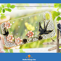 FREE SHIP 1PC Bling Crystal  Spring Bird Swallows &  Floral Phone Case for iPhone 4