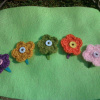 Set of 5 Handmade Spring Flower Crochet Hair Clips by OwlPudding