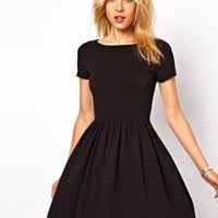 ASOS Skater Dress With Slash Neck And Short Sleeves at asos.com