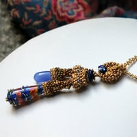 Stunning Artisan Lampwork Beaded necklace,gold necklace with blue chalcedony - matte gold,bright gold,antique gold - Into the Depths