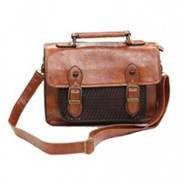 Brown Rectangular Bag with Woven Panel Front and Twin Bet Detail