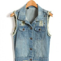 Ripped Denim Gilet with Rivets Embellishment