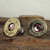 Light Rose Bullet Earrings Ultra Thin by ShellsNStuff