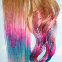 Backorder Pastel Tie Dye Tips Human Hair by Cloud9Jewels on Etsy
