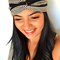 Tribal Black and White Turban Headband, Upcycled Head Wrap  - Hand block printed, All Natural Vegetable Dyes, 100% Cotton Bohemian head band