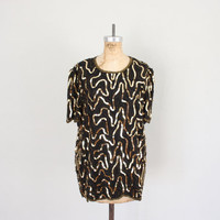 Vintage Sequined Top // 1980s Glam Blouse // Retro Black and Gold Sequins // Glam Fashion Shirt