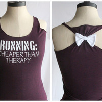 Running Cheaper than Therapy Bow Tank Top  SMALL by personTen