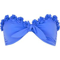 blue flower bandeau bikini top  - bikinis - swimwear / beachwear - women - River Island