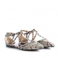 Missguided - Talla Studded Snakeskin T-Bar Sandals