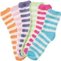 6 Pack of Fluffy Cozy Fuzzy Socks - Wide Stripe $39.99 (80-FS220) -: Everything Else