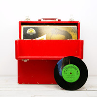 Red Vinyl Record Wood Box Carrying Case