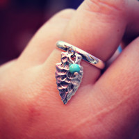 arrow head and turquoise charm ring tribal ring by alapopjewelry