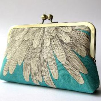 Chrysanthemum silk lined clutch purse bag Bag Noir by BagNoir