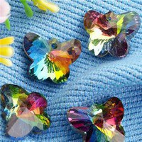 Crystal AB Multi Color Butterfly Pendants Beads - $3.63