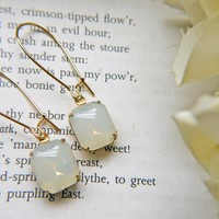 Vintage Opalite Glass Earrings. Octagon Brass Setting. Dainty. Romantic