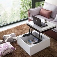 Nikka Black/White High-Gloss Lift-Top Coffee Table: Home &amp; Kitchen