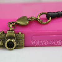 3.5mm Bronze Camera And Heart Dust-proof Plug For iphone 5,iphone 4s,iPhone 4,iPhone 3gs,iPod Touch 4,HTC,Nokai,Samsung,Sony-N1115