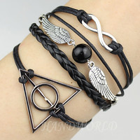 Infinity, Harry Potter Snitch &amp; Deathly Hallows Charm Bracelet--Friendship Gift-Personalized Bracelet-N1125