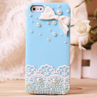 Lace Bow Pearl Rhinestone Hard Cover Case For Iphone 4/4s/5