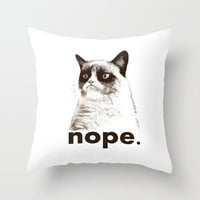 NOPE - Grumpy cat. Throw Pillow by John Medbury (LAZY J Studios) | Society6