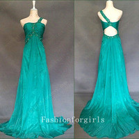 2013 New Glamorous Green Chiffon One Shoulder Prom Dresses